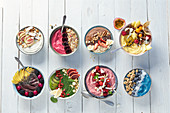Various different smoothie bowls