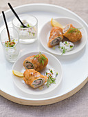 Baked mini veal roulades