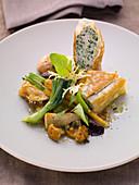 Herb strudel with sautéed chanterelle mushrooms