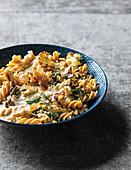 Cauli cream pasta with lemony crumbs, chickpeas and pecorino