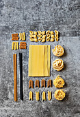 Raw pasta selection