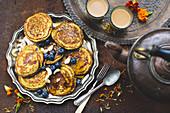 Turmeric and chai tea, banana pancakes