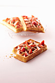 Waffles with strawberries and mint