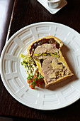 Meat pie with pistachio nuts