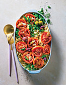 Greek-style baked fragrant rice with roasted tomatoes