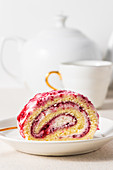 Vanilla raspberry swiss roll cake