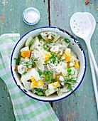Radish salad with eggs and peas