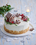 Christmas cake with gingerbread house