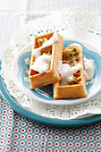 Waffles with passion fruit and banana