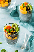 Chia pudding with exotic fruits