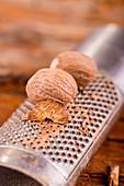 Nutmegs on a nutmeg grater