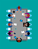 Microchip meeting table, illustration