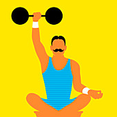 Strongman lifting dumb bell while meditating, illustration