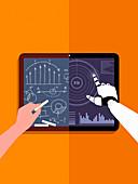 Blackboard versus artificial intelligence, illustration