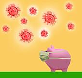 Piggy bank wearing face mask, illustration