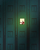 Man working at home at night, illustration