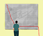 Man looking at line graph falling off chart, illustration