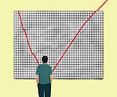 Businessman looking at improving line graph, illustration
