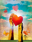 Hands releasing hearts as butterflies, illustration