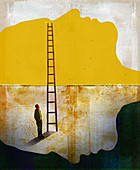 Man at bottom of ladder, illustration