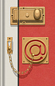 Door security chain in shape of at symbol, illustration