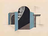Part of face in surreal architectural design, illustration