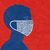 Man wearing face mask, illustration
