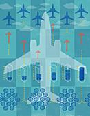 Rising aircraft air pollution, illustration