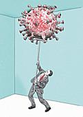 Businessman fighting coronavirus with broom, illustration