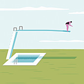 Woman on long diving board above solid ground, illustration