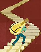 Man struggling to carry large light bulb, illustration