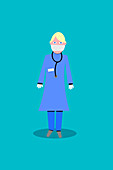 Nurse wearing personal protective equipment, illustration
