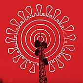 Transmitter mast with coronavirus radio waves, illustration