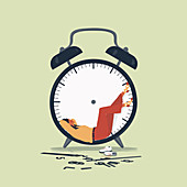 Woman relaxing inside of clock with no hands, illustration