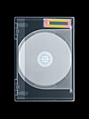 Security tag on DVD case, X-ray
