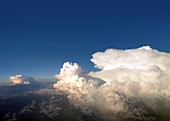 Thunderstorm clouds from above