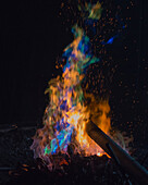 Colorful Flame from Smelting Copper and Tin