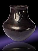 Blackware Jar with Bear Paw Design, Santa Clara Pueblo