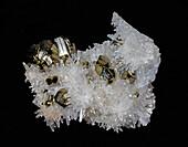 Pyrite on Quartz Crystals