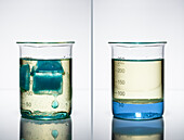 Ice melts in oil