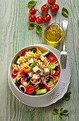 Pasta salad Greek style with feta and cucumber