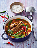 Lamb soup with beans, potatoes and chilli