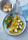 Omelette with goat cheese and peas
