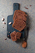 Chocolate box cake with cocoa nibs