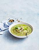 Broccoli, zucchini and leek soup with feta and pepitas