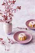Mini Easter cakes with pink icing