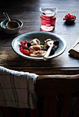 Homemade sweet dumplings with summer berries