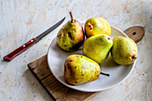 Yellow and green pears