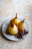 Poached pears spices