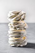 White meringue swirl stack